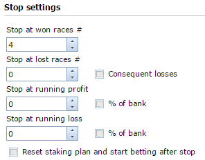Stop betting settings